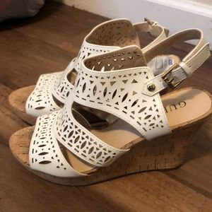 White laser cut Guess wedges size 8